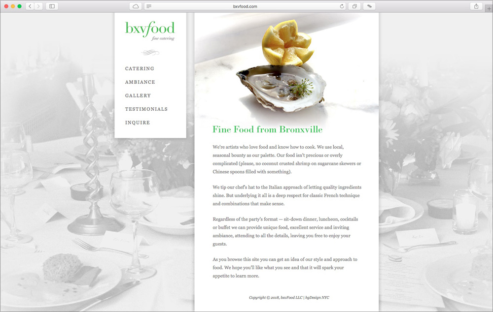 Gourmet catering company website – johnmiles nyc